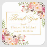 "Elegant Chic Floral Gold Frame Thank You Square Sticker<br><div class=""desc"">================= ABOUT THIS DESIGN ================= Elegant Chic Floral Gold Frame Thank You Sticker. (1) You are able to CHANGE the White Background to ANY COLOR you like by clicking the &quot;Customize it&quot; button and setting the Background Color. The text color and size are adjustable too. (2) If you need any...</div>"