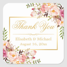 Elegant Chic Floral Gold Frame Thank You Square Sticker at Zazzle
