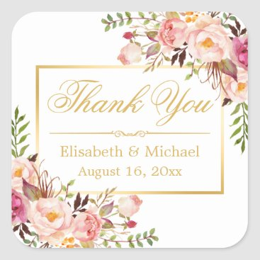 Toddler & Baby themed Elegant Chic Floral Gold Frame Thank You Square Sticker