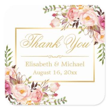CardHunter Elegant Chic Floral Gold Frame Thank You Square Sticker