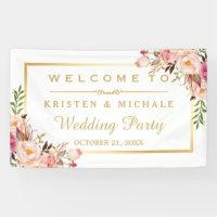 Elegant Chic Floral Gold Frame Wedding Party Banner