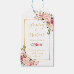 Elegant Chic Floral Gold Wedding Thank You Gift Tags