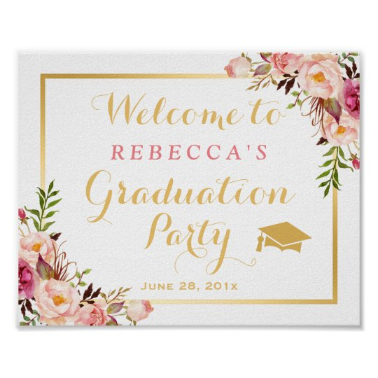 elegant chic floral graduation party sign
