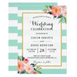 Elegant Chic Floral Mint Green Wedding Celebration Card