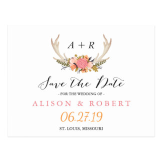 Elegant Chic Floral White Antler Save the Date Postcard