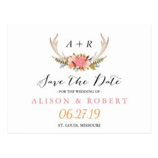 Elegant Chic Floral White Antler Save the Date Postcard