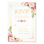 Elegant Chic Flowers Gold Frame RSVP Card