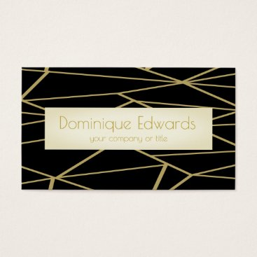 Elegant Chic Geometric Black and Gold Professional Business Card