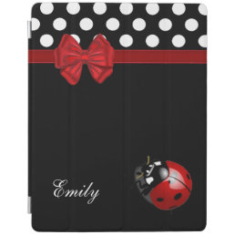 Elegant chic girly polka dots ladybug monogram iPad smart cover