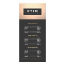 Elegant Chic Gold and Black Price List Menu