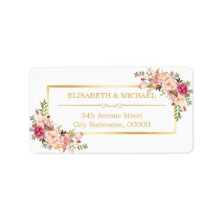 Elegant Chic Gold and White Beautiful Floral Decor Label at Zazzle
