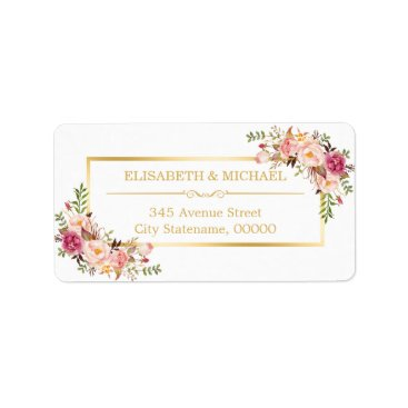 CardHunter Elegant Chic Gold and White Beautiful Floral Decor Label