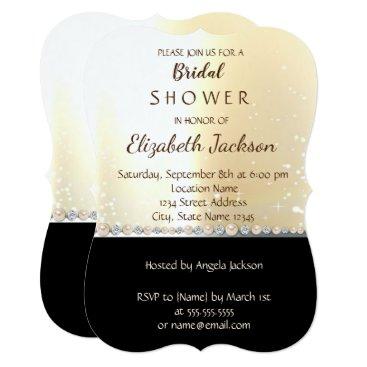 Beach Themed Elegant Chic Gold Black   Bridal Shower Card