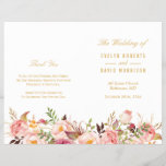 """Elegant Chic Gold Floral Folded Wedding Program<br><div class=""""desc"""">Create the perfect wedding program with this &quot;Elegant Chic Gold Pink Floral&quot; template. This high-quality design is easy to customize to be uniquely yours! (1) Note that the cards arrive flat, and you&#39;ll need to Fold Down the Middle to convert them to folded papers. (2) For further customization, please click...</div>"""