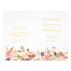 Elegant Chic Gold Floral Folded Wedding Program at Zazzle