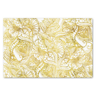 "Elegant chic gold foil hand drawn floral pattern 10"" x 15"" tissue paper"