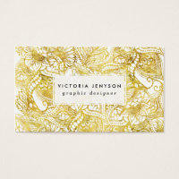Elegant chic gold foil hand drawn floral pattern business card
