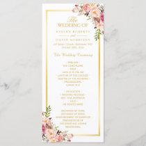 Elegant Chic Gold Frame Floral Wedding Program