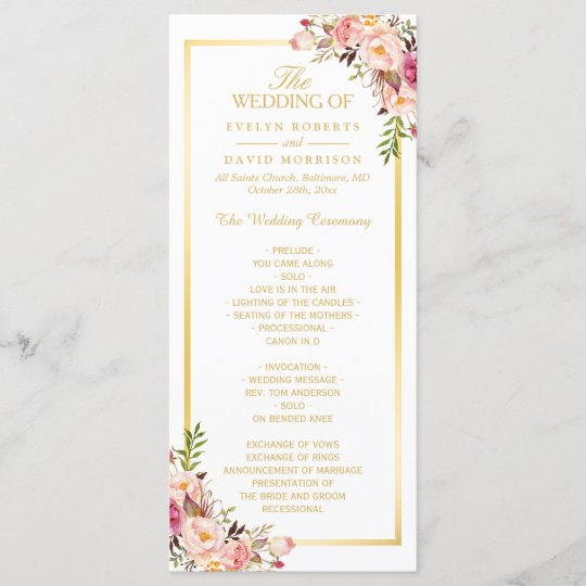 elegant chic gold frame floral wedding program zazzle com