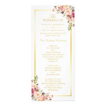 CardHunter Elegant Chic Gold Frame Floral Wedding Program