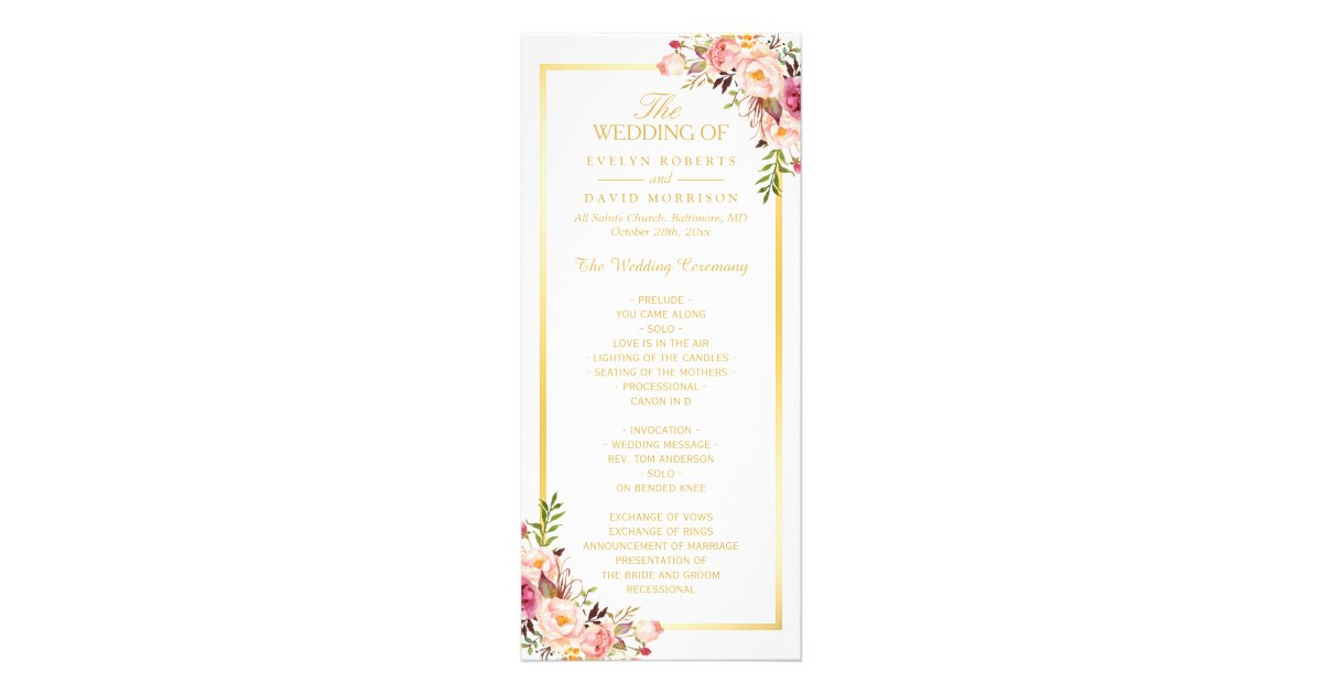 Elegant Chic Gold Frame Floral Wedding Program | Zazzle
