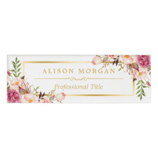 Elegant Chic Gold Frame Girly Pink Floral Beauty Name Tag