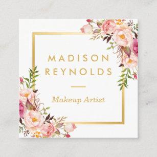elegant chic gold frame girly pink floral personal square business card - Girly Business Cards