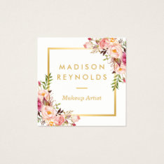 Elegant Chic Gold Frame Girly Pink Floral Personal Square Business Card at Zazzle