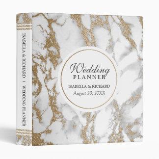 Elegant Chic Gold Glitter Marble Wedding Planner Binder