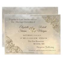 Elegant Chic Gold Hearts Wedding Invitation