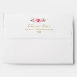 Elegant Chic Gold Pink Floral Wedding 5x7 Envelope