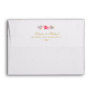 Elegant Chic Gold Pink Floral Wedding 5x7 Envelope