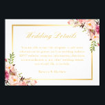 """Elegant Chic Gold Pink Floral Wedding Details Card<br><div class=""""desc"""">Elegant Chic Gold Pink Floral Wedding Details Card. (1) For further customization, please click the &quot;Customize&quot; button and use our design tool to modify this template. (2) If you prefer a thicker paper, you may consider to choose the Matte Paper Type. (3) If you need any customization or matching items,...</div>"""