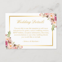 Elegant Chic Gold Pink Floral Wedding Details Enclosure Card