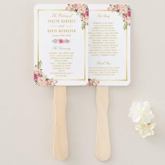 Elegant Chic Gold Pink Floral Wedding Program Hand Fan