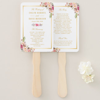 Elegant Chic Gold Pink Floral Wedding Program Hand Fan