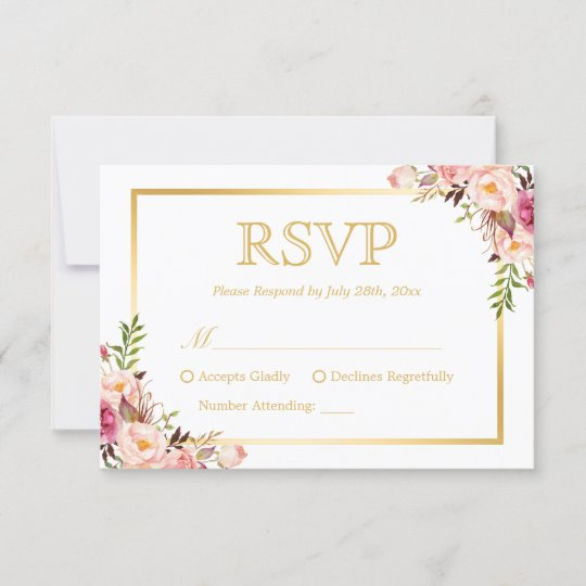 elegant chic gold pink floral wedding rsvp reply zazzle com