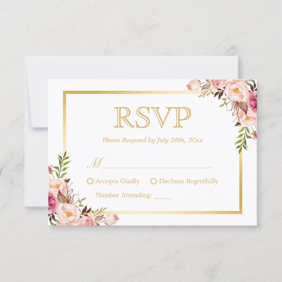 Elegant Chic Gold Pink Floral Wedding RSVP Reply