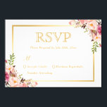 """Elegant Chic Gold Pink Floral Wedding RSVP Reply Card<br><div class=""""desc"""">================= ABOUT THIS DESIGN ================= Elegant Chic Gold Pink Floral Wedding RSVP Reply Card. (1) For further customization, please click the &quot;Customize&quot; button and use our design tool to modify this template. (2) If you prefer a thicker paper, you may consider to choose the Matte Paper Type. (3) If you...</div>"""