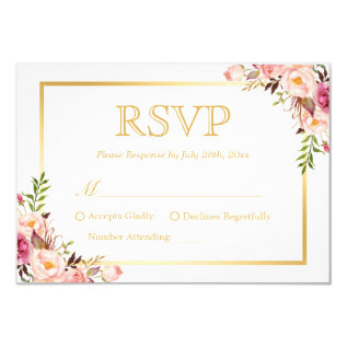 Elegant Chic Gold Pink Floral Wedding Rsvp Reply Card at Zazzle