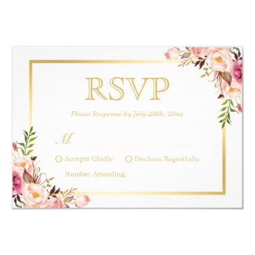 CardHunter Elegant Chic Gold Pink Floral Wedding RSVP Reply Card