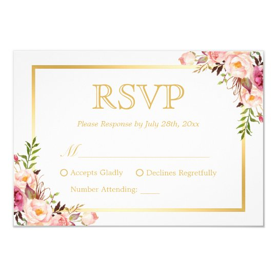 Elegant Chic Gold Pink Fl Wedding Rsvp Reply Card