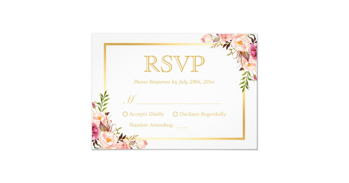 elegant chic gold pink floral wedding rsvp reply card - Wedding Invitations Elegant