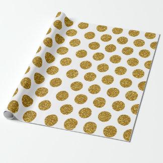 Elegant Chic Gold Polka Dots Glitter Photo Print Wrapping Paper