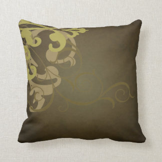 Elegant Chic Gold Scroll Brown Mojo Pillow