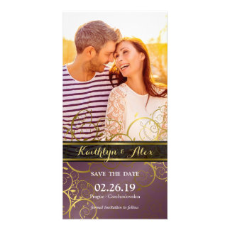 Elegant Chic Gold Spirals Save The Date Photo Card