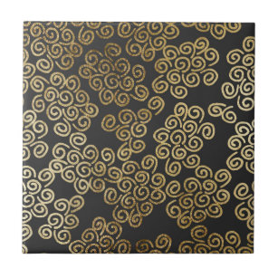 Elegant Chic Gold Swirls On Black Ceramic Tile