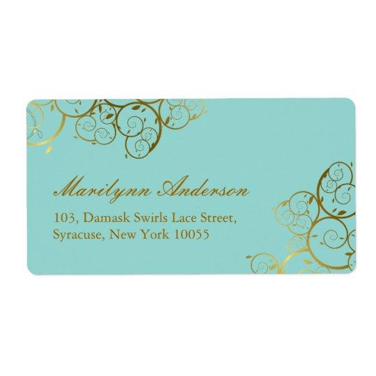 Elegant Chic Golden Spirals Wedding Address Labels