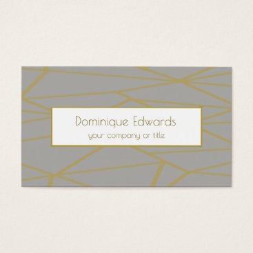 Elegant Chic Grey Geometric  Gold Professional Business Card