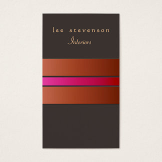 Elegant Chic Interior Designer Striped Rust Brown Business Card